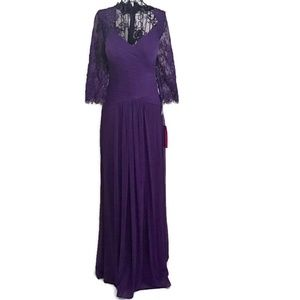 NWT MGNY Madeline Gardner Sequin Pleated Lace Gown